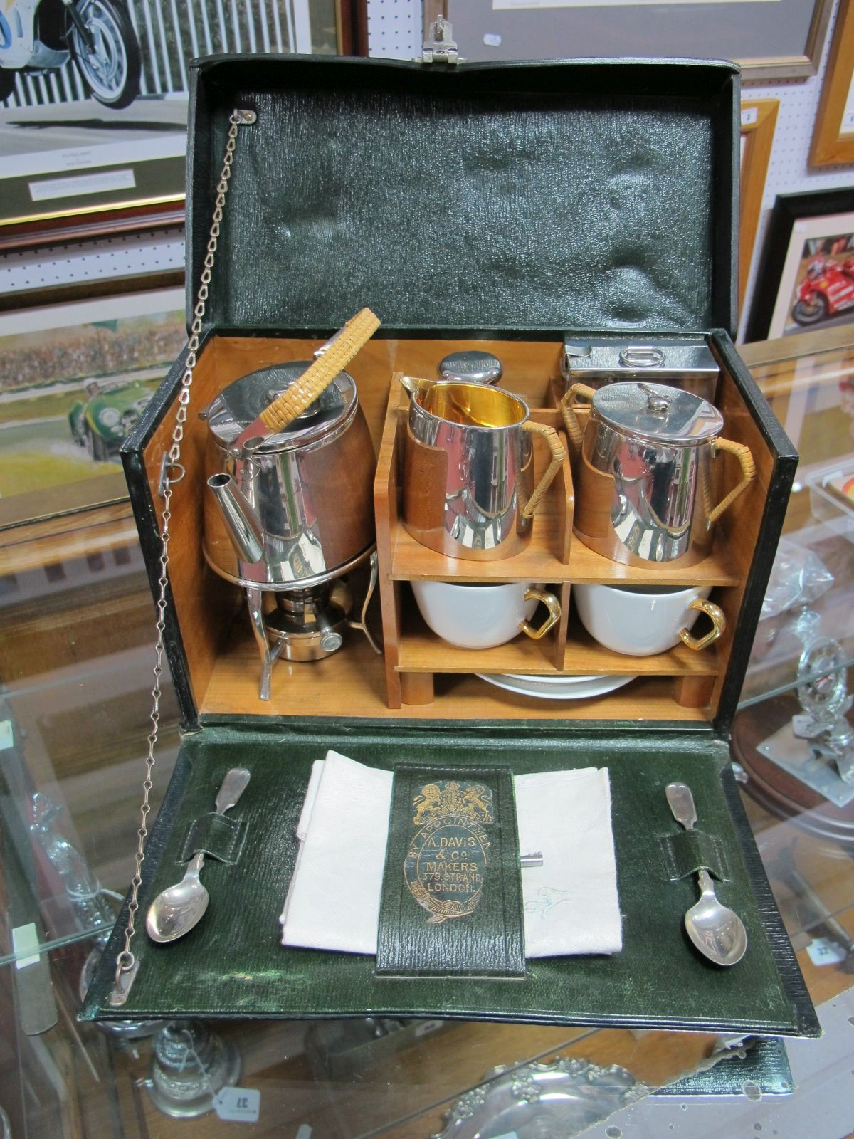 Lot 39 - An Early XX Century Picnic Set for Two by A. Davies and Co., The Strand, London, green leather