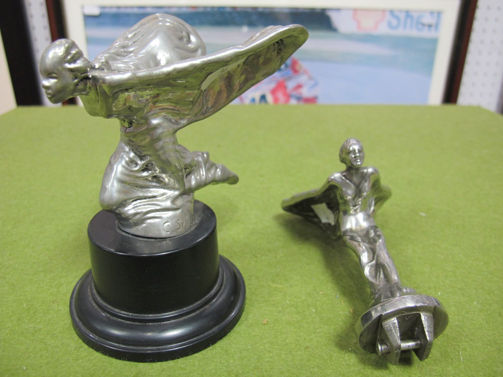 Lot 36 - A Rolls Royce Spirit of Ecstasy Flying Lady Car Mascot, inscribed at base C. Sykes 25.1.34 mounted