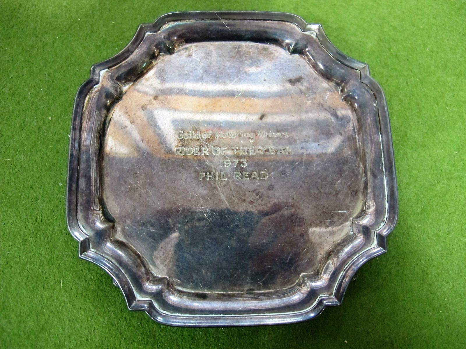 Lot 31 - Silver Guild of Motoring Writers, 'Rider of The Year Trophy' 1973 to Phil Read