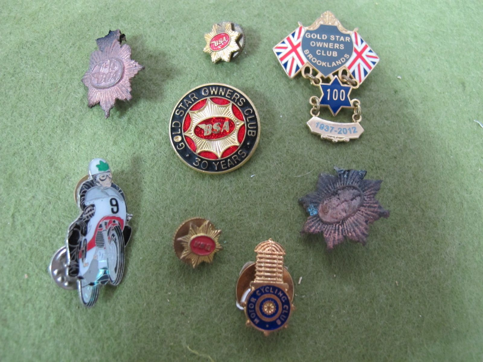 Lot 21 - Mid XX Century and Later Badges, to include BSA gold star owners club, with 100 year bar with