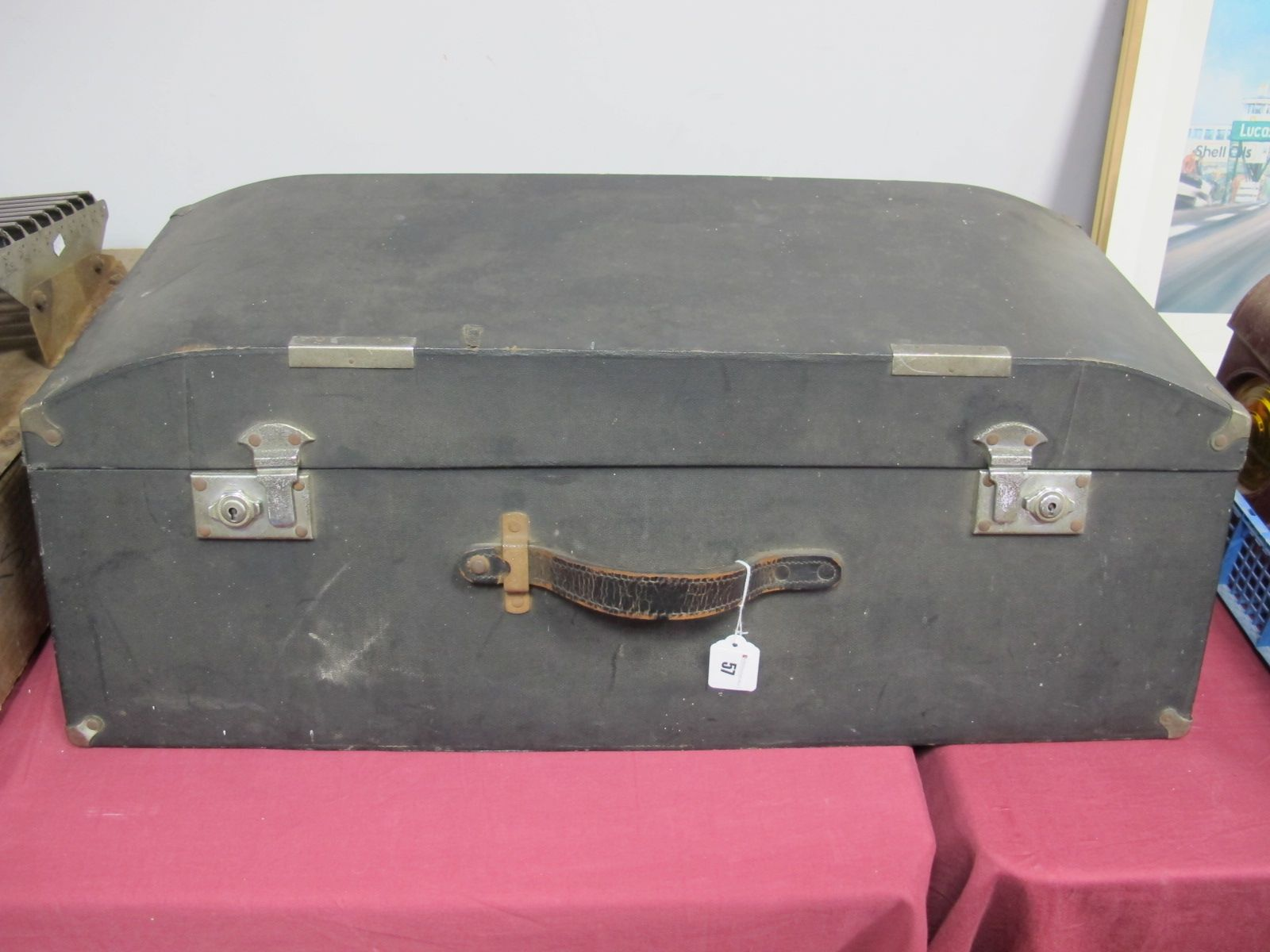 Lot 57 - A 1930's Brooks Car Trunk, finished in black/twin locks. Thirty one inches x eighteen inches.