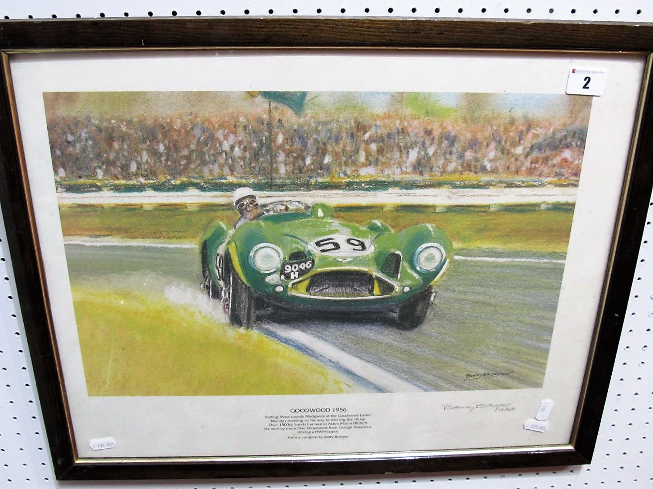 Lot 2 - After Barry Bowyer- 'Goodwood 1956' Signed By Artist, in graphite, framed.