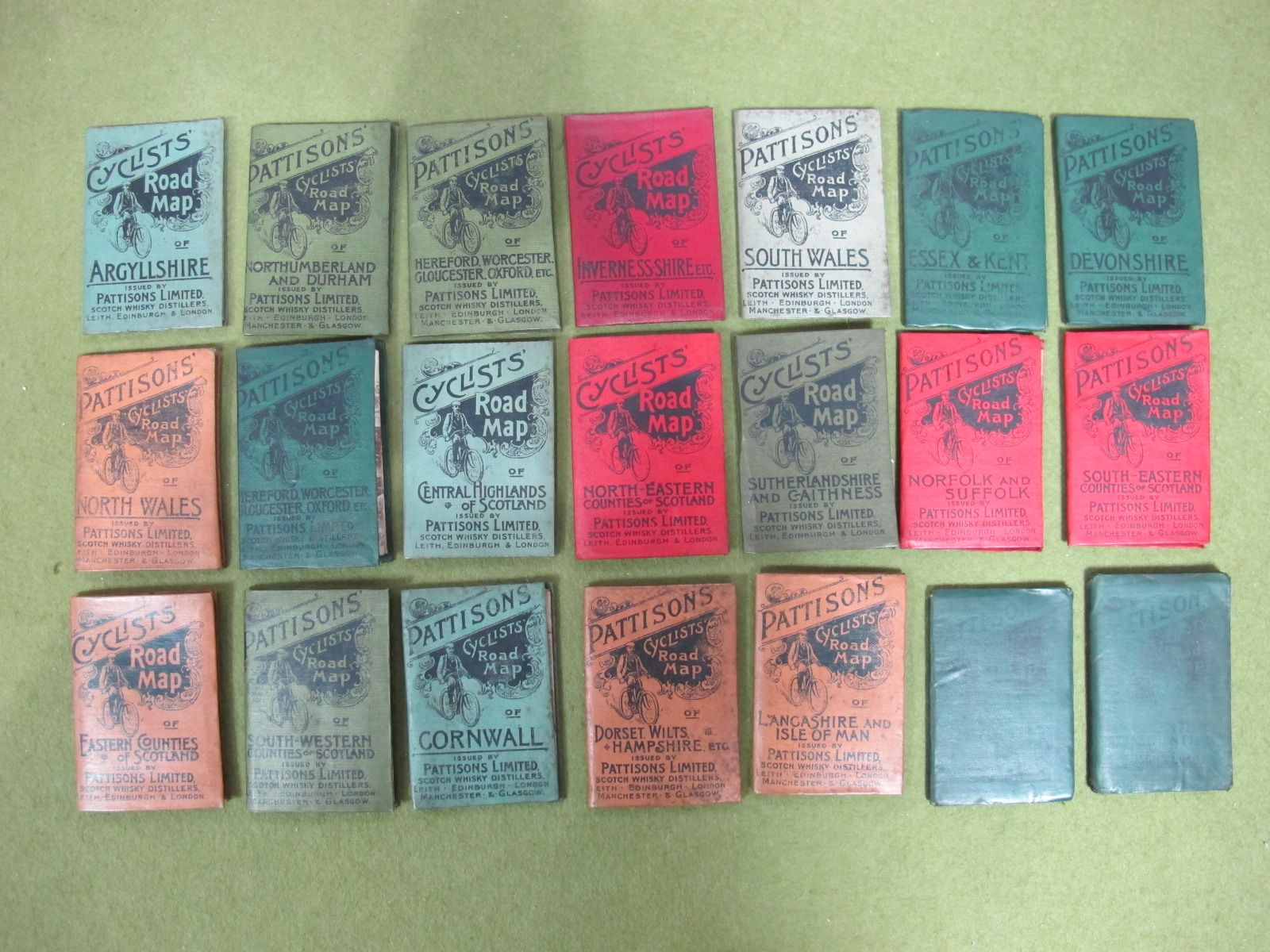 Lot 33 - Twenty-one Late XIX Century Cyclists Fold-out Maps, sponsored by Pattison's Scotch Whisky, each with