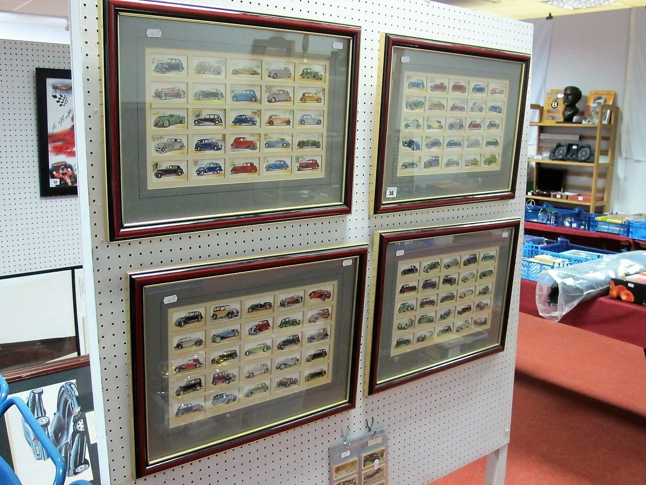 Lot 56 - Four Framed Sets of Players Cigarette Cards, all Automobile related. Plus a set of Black Cat 1970'