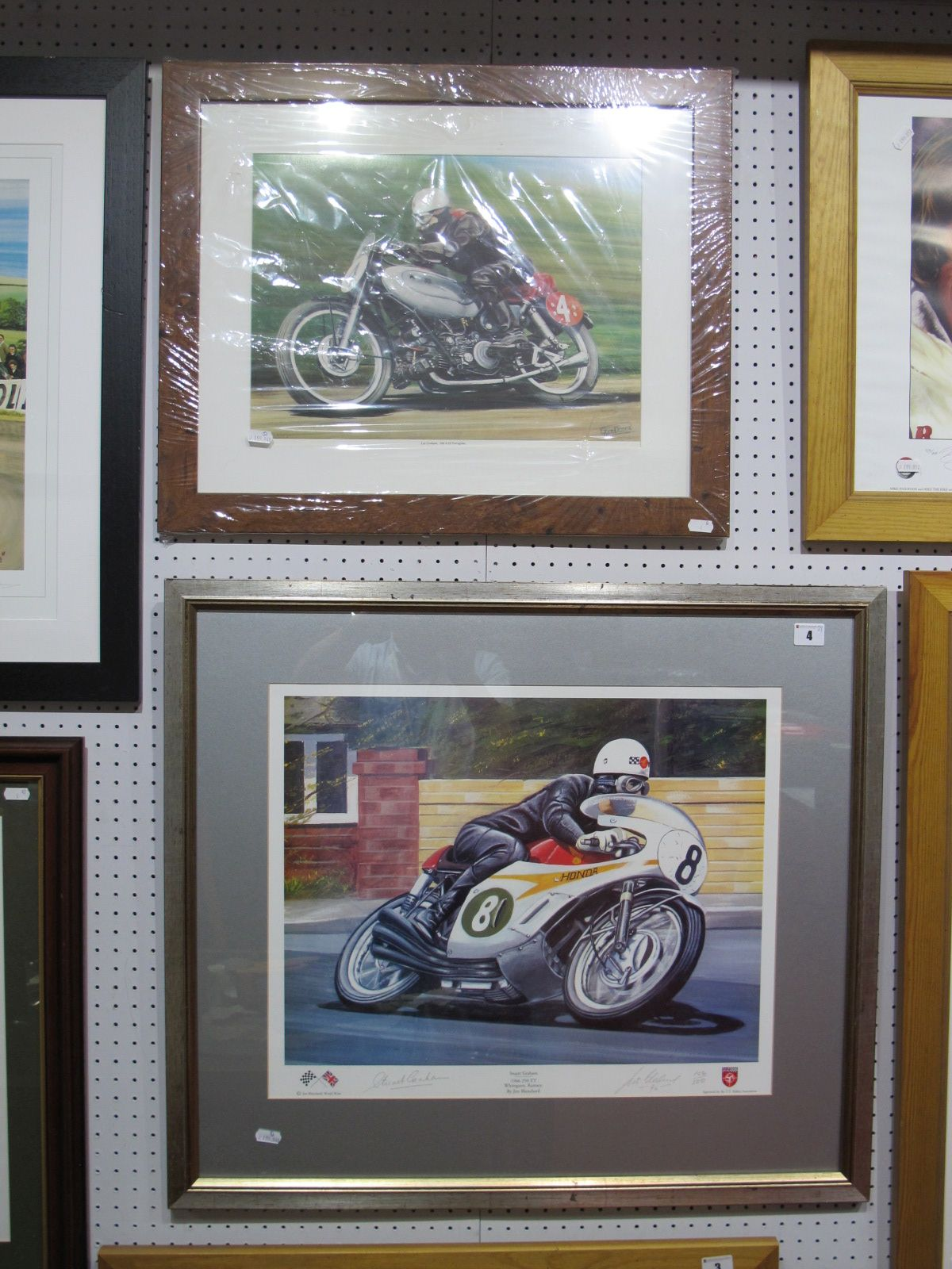 Lot 4 - Father and Son Motorbike Grand Prix Winners, after Jim Blanchard- Stuart Graham- signed by artist