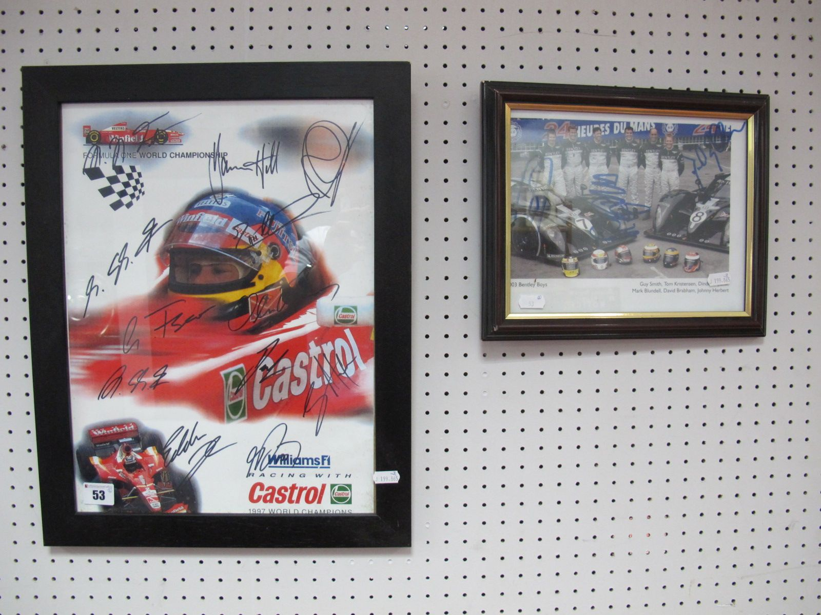 Lot 53 - 1990's Williams F1 Signed Print, plus a 2003 Bentley boys signed print, both framed.
