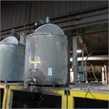 """(Est) 300 Gallon Stainless Steel Mixing Tank (Est) 46"""" Dia. x 46"""" High, Top Hinged Cover, Bridge Typ"""