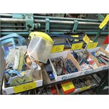 LOT ASST. SAFETY GLASSES, LETTER & NUMBER SETS, HAND TOOLS, W/ RECORD BOLT CUTTERS, PIPE WRENCH,