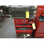 LOT ASST. GRAY PRO-SERIES 12 DR. PORTABLE TOOL CABINET W/2-KENNEDY TOOL BOXES & CONTENTS