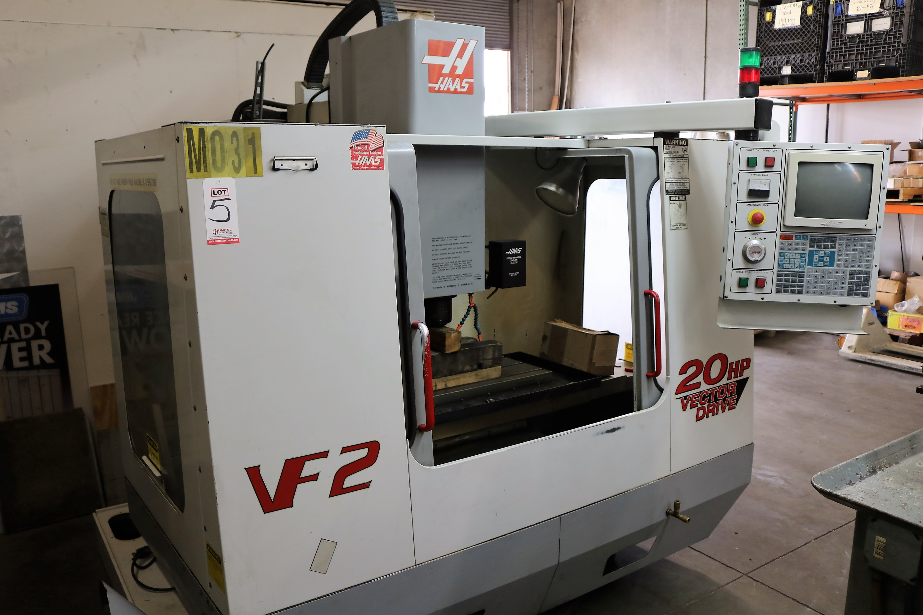 "Lot 5 - 1999 HAAS VERTICAL MILL, MODEL VF-2, TRAVELS: 30"" X 16"" X 20"", 36"" X 14"" TABLE, 10,000 RPM"