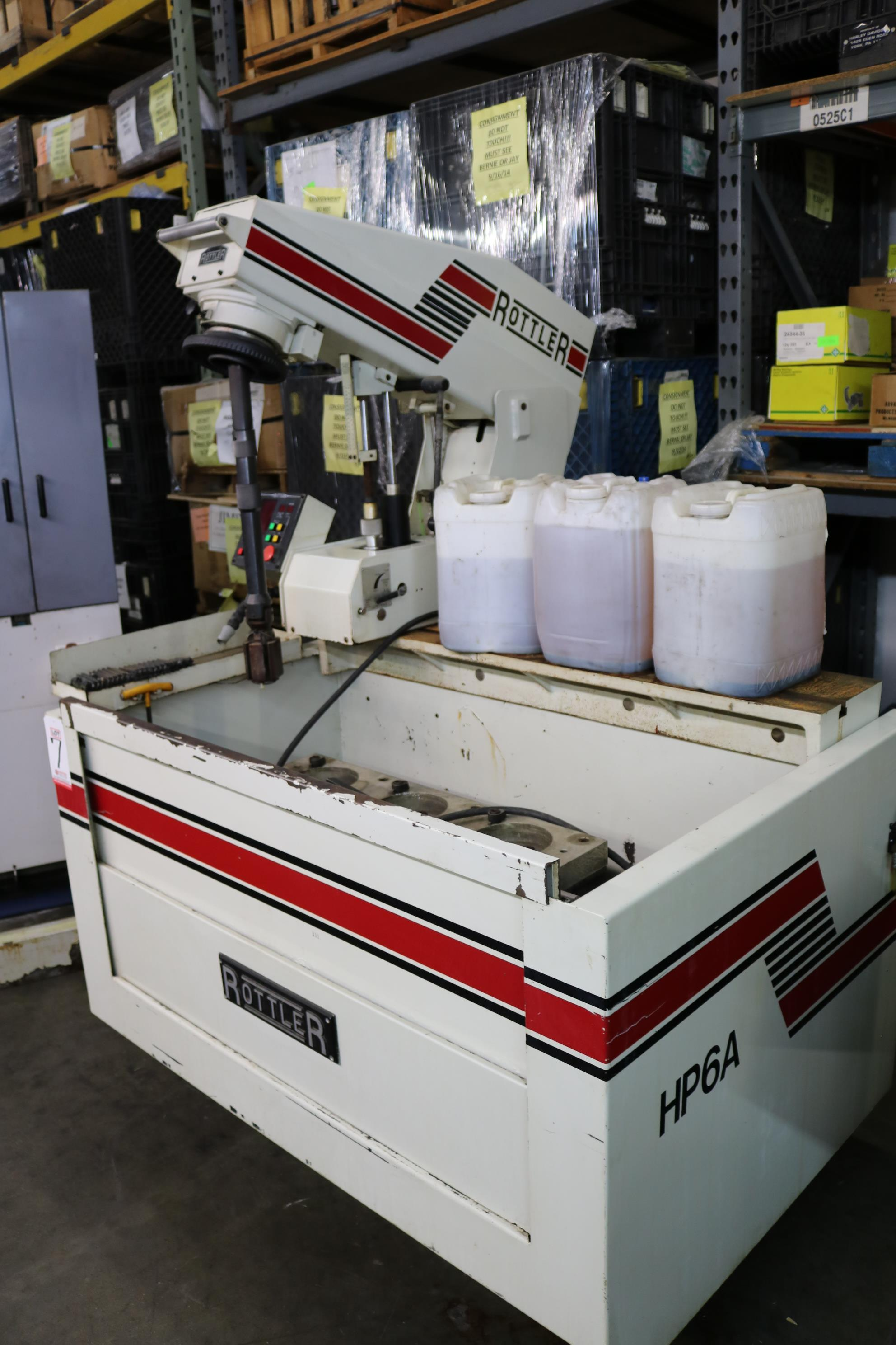 "Lot 7 - 2000 ROTTLER AUTOMATIC POWER STROKE HONING MACHINE, MODEL HP6A, 1.5"" X 7.0"" DIAMETER, CONTROL PANEL,"