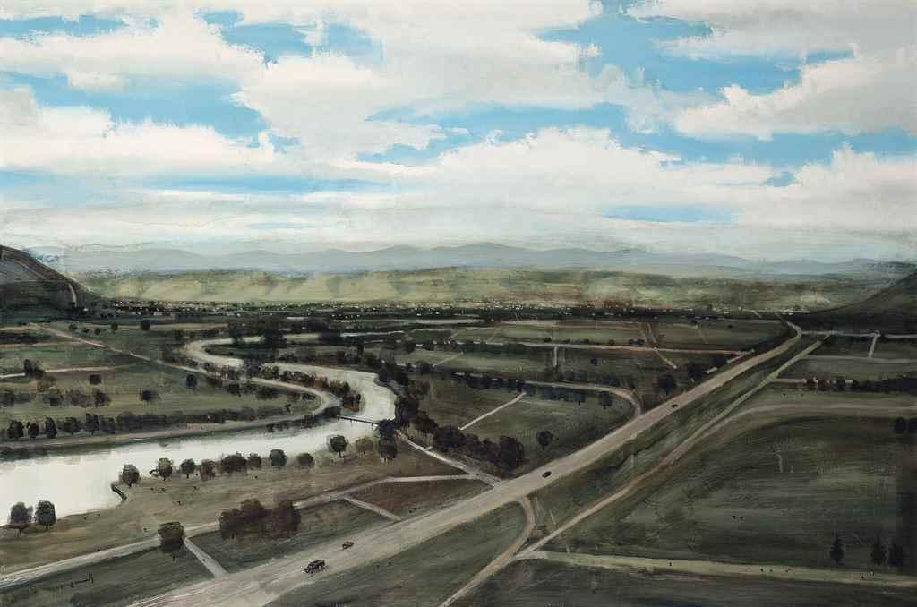 Lot 445 - Georgy Totibadze (Tbilisi B. 1967) Landscape signed indistinctly (lower left) oil on canvas 38 ¾ x
