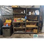 (LOT) STEEL SHELVING WITH PARTS AND ADJACENT CABINET WITH TOOLS