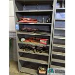 (LOT) STEEL SHELF UNIT WITH CONTENTS, AIR LINE, BATTERY CHARGER, CABLES AND OTHERS