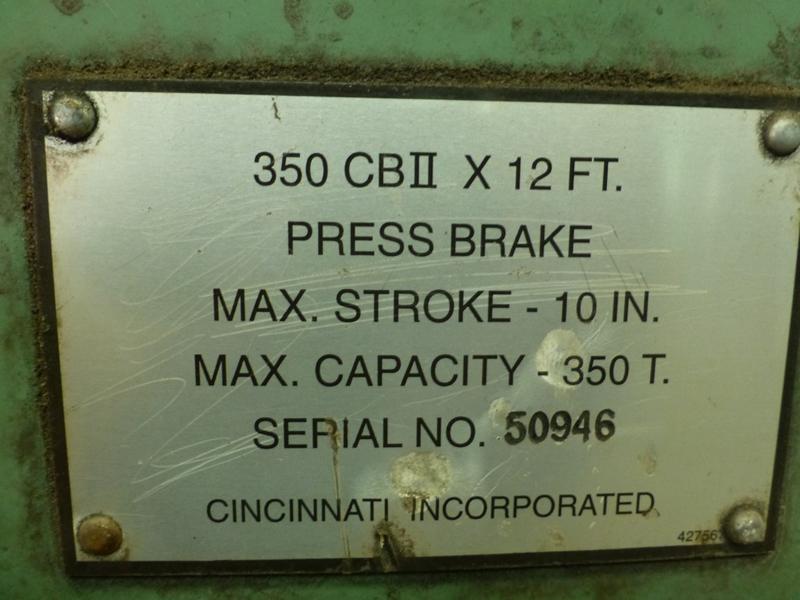 "Cincinnati 350-Ton x 12' Hydraulic Press Brake | Model 350 CBII; 14' LOA - 12' 6"" Between - Image 17 of 17"
