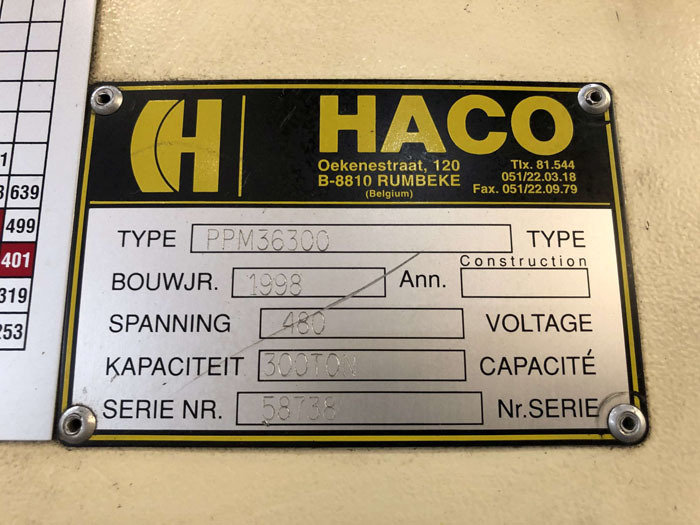 1998 Haco CNC Hydraulic Press Brake | 300 Ton x 12', Mdl: PPM36300, S/N: 58738, Located In: - Image 20 of 20
