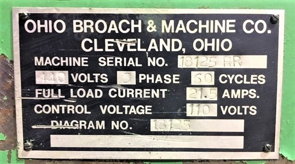"Ohio Horizontal Broaching Machine | 5-Ton x 48"", Mdl: H548RR, S/N: 18125-76 - 8429P - Image 15 of 15"