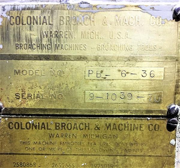 "Stroke Colonial PB-6-36 Vertical Hydraulic Broaching Machine   6-Ton x 36"" , Mdl: PB-6-36, S/N: 9- - Image 19 of 19"