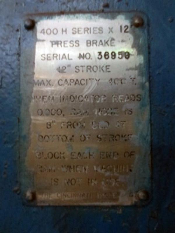 Cincinnati Hydraulic Press Brake | 400-Ton x 16', Mdl: 400H x 12, S/N: 36959, Located In: - Image 5 of 5