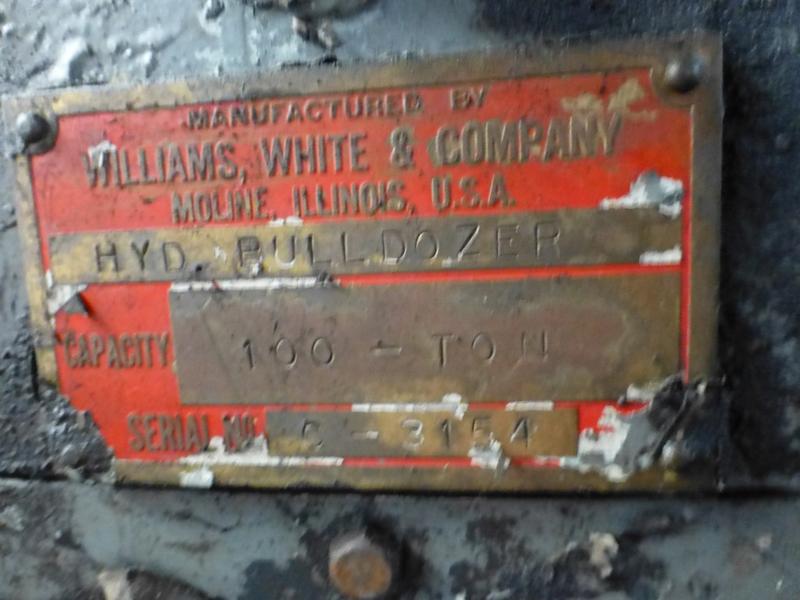"Williams & White 100 Ton Hydraulic Bulldozer | 12"" x 60"" Cross Head; S/N: 0-3154, Located In: - Image 15 of 16"