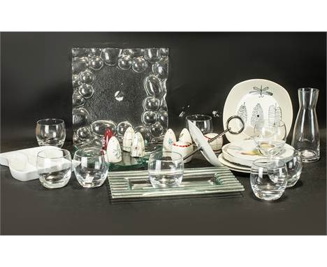 A Modern Carafe and Eight Glasses Set plus 3 glass serving dishes. Together with Midwinter Eight Assorted Salt and Pepper Pot