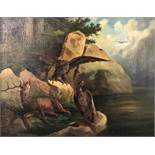 UNSIGNED (XIX). Injured red deer beeing attacked by three eagles.48 cm x 60 cm. Painting. Oil on