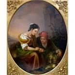 After Bartolomé Esteban MURILLO (XIX). The Little Fruit Seller97 cm x 80 cm oval. Painting. Oil on