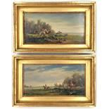 Bruno KRAUEL (1907 - 1999). 2 paintings fox hunt. A pair.13 cm x 26 cm. Painting. Oil on wood.