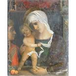 UNSIGNED (XV). Mary with Jesus and John.47 cm x 37 cm. Painting. Oil on wood. Probably Italy. Late