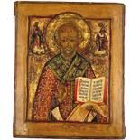 ICON (XIX). Nicholas of Myra.35 cm x 29 cm. Painting. Mixed media. Russia?IKONE (XIX). Nikolaus