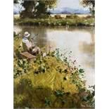 John HASKINS (1938 -). Angler.30 cm x 24 cm. Painting. Oil on wood. Signed lower right.John