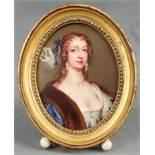 Henry Pierce BONE (1779 - 1855). Lady Mary Feilding.10 x 7.5 cm oval. Enamel on copper. Executed