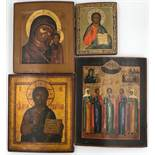 ICONS (XIX - XX). 4 icons probably Russia.2 x Christ, 1x Mary with Jesus, 1 x multi-saint icon. Up