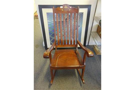 - Hardwood Antique Style Rocking Chair With Brass Inlaid Decoration,