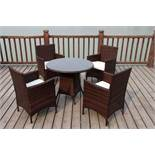 + VAT Brand New Chelsea Garden Company Four Person Light Brown Rattan Outdoor Dining Set - Includes