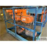 10 TON CM POWERSTAR MODEL 7201 ELECTRIC CHAIN HOISTS W/ POWER TROLLIES & RACK