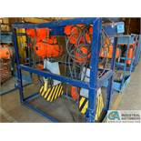 10 TON BEEBE / INGERSOLL RAND MODEL LE50 100M4 ELECTRIC CHAIN HOISTS W/ POWER TROLLIES & RACK
