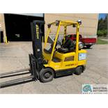 "6,500 LB. HYSTER MODEL S65XM LP GAS SOLID TIRE LIFT TRUCK; S/N D187V32192B, 84"" X 164"" THREE-STAGE"