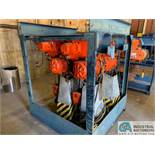 10 TON BEEBE MODEL 100MT ELECTRIC CHAIN HOISTS W/ POWER TROLLIES & RACK
