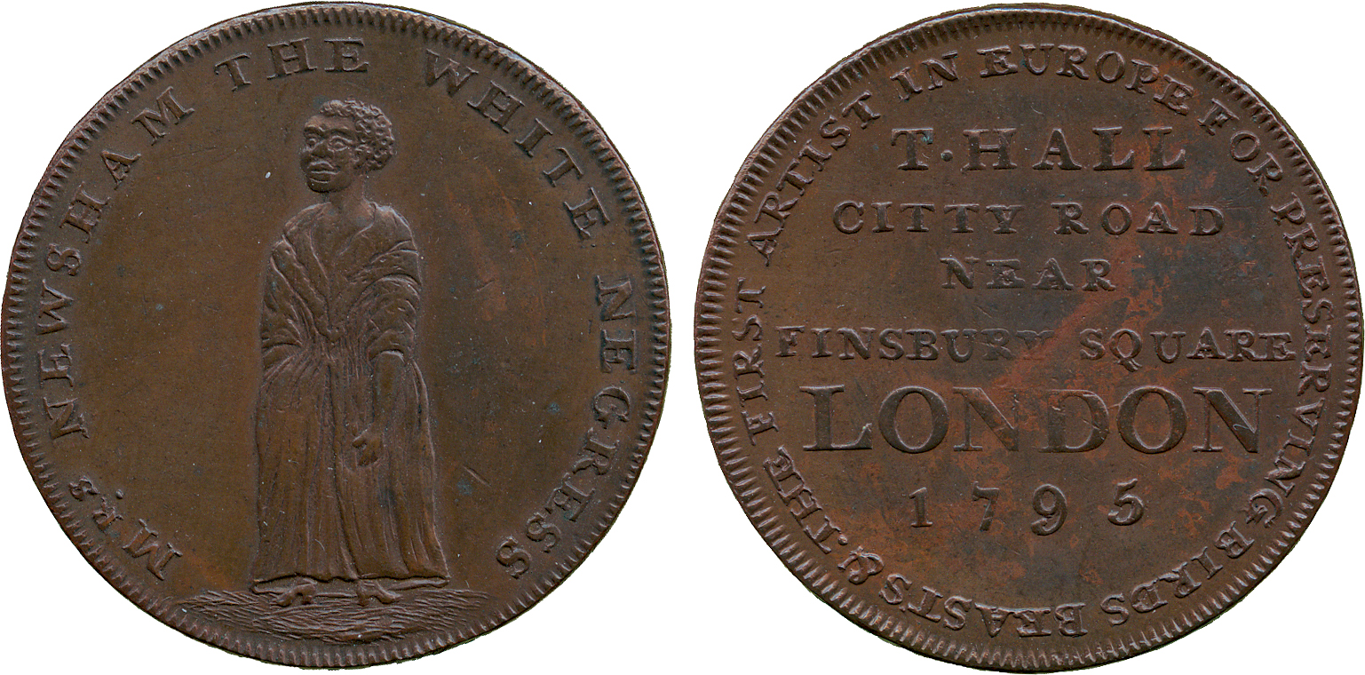 Lot 1226 - BRITISH 18th CENTURY TOKENS, Thomas Hall, Copper Penny, 1795, obv woman standing, MRS. NEWSHAM THE