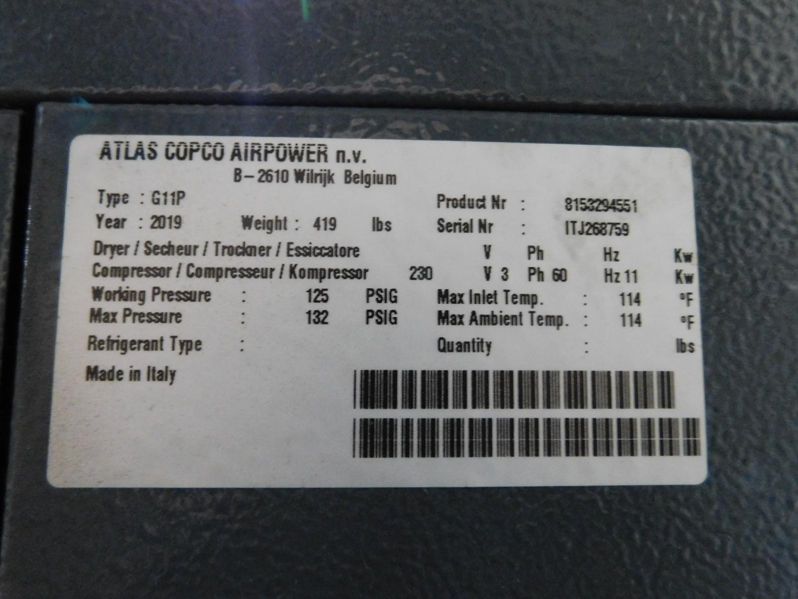2019 ATLAS COPCO G11 15 HP ROTARY SCREW AIR COMPRESSOR, 125 PSI, S/N ITJ268759 - Image 2 of 2