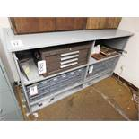 STEEL BASE CABINET, W/ OPEN SHELVES, CONTENTS NOT INCLUDED