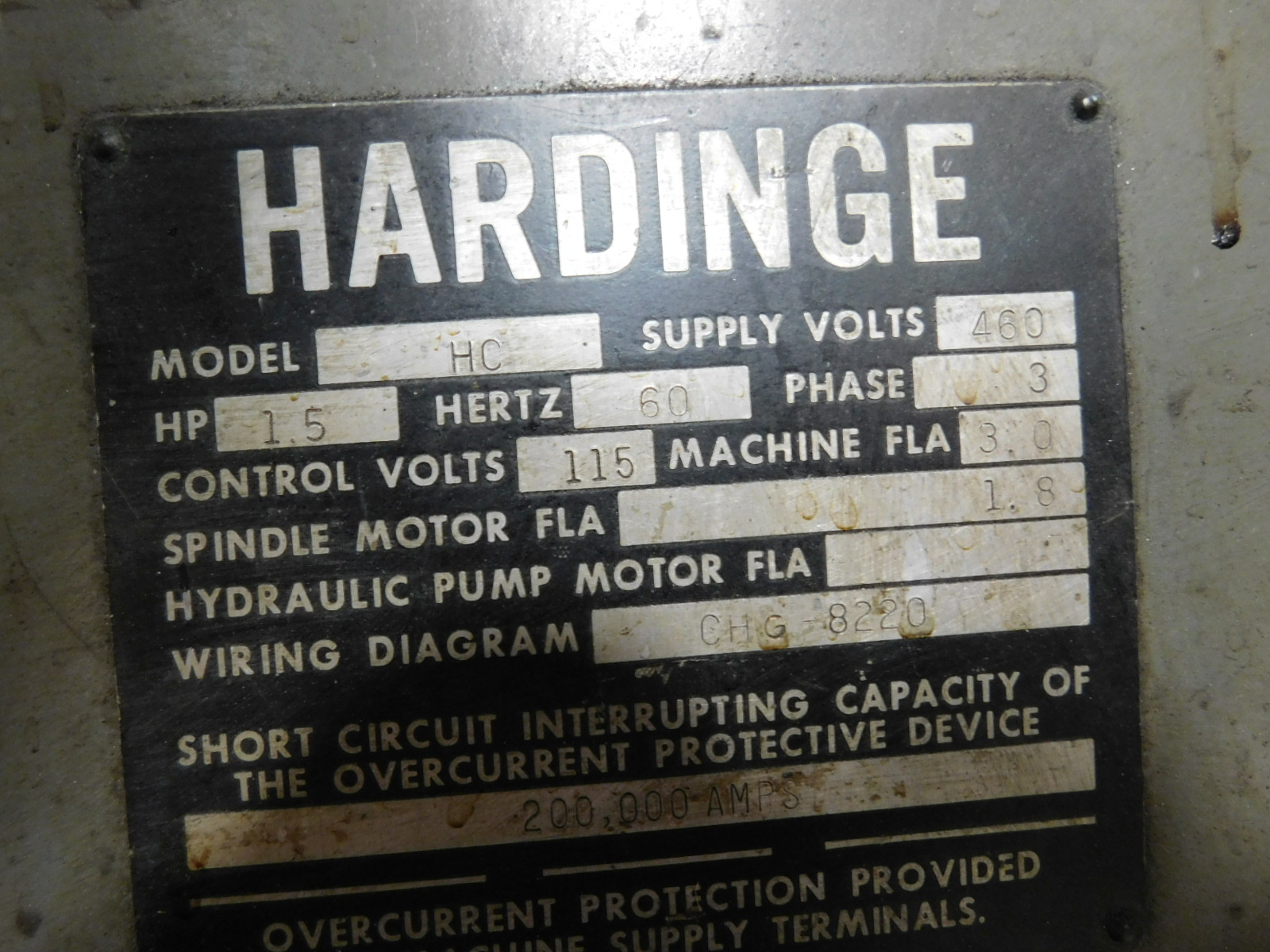 HARDINGE MODEL HC AUTOMATIC CHUCKING LATHE, S/N HC-4354-P - Image 8 of 8