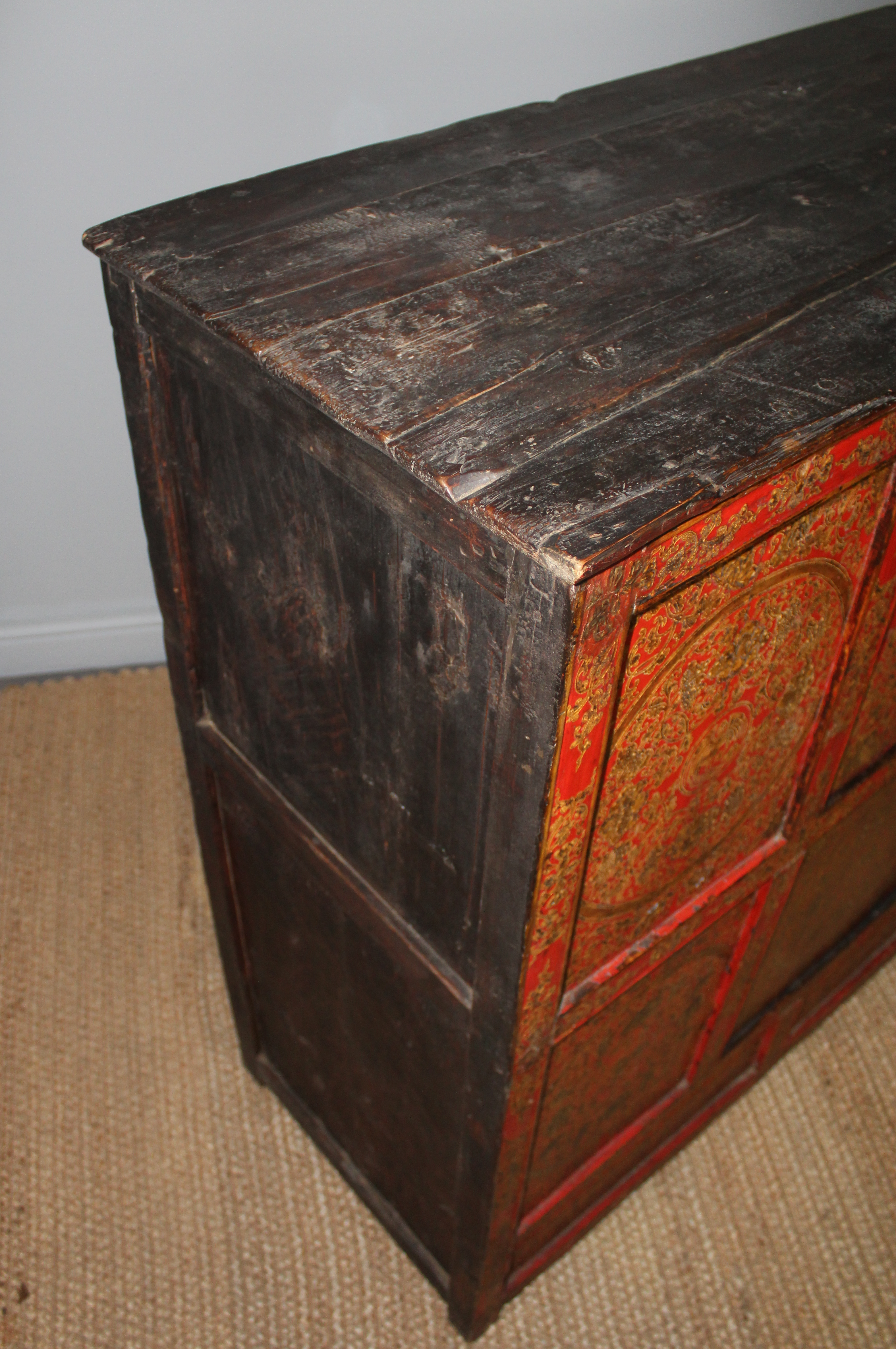 Superb img of  An 18th Century Eastern Tibetan painted and panelled wood cabinet with #B33618 color and 3152x4744 pixels