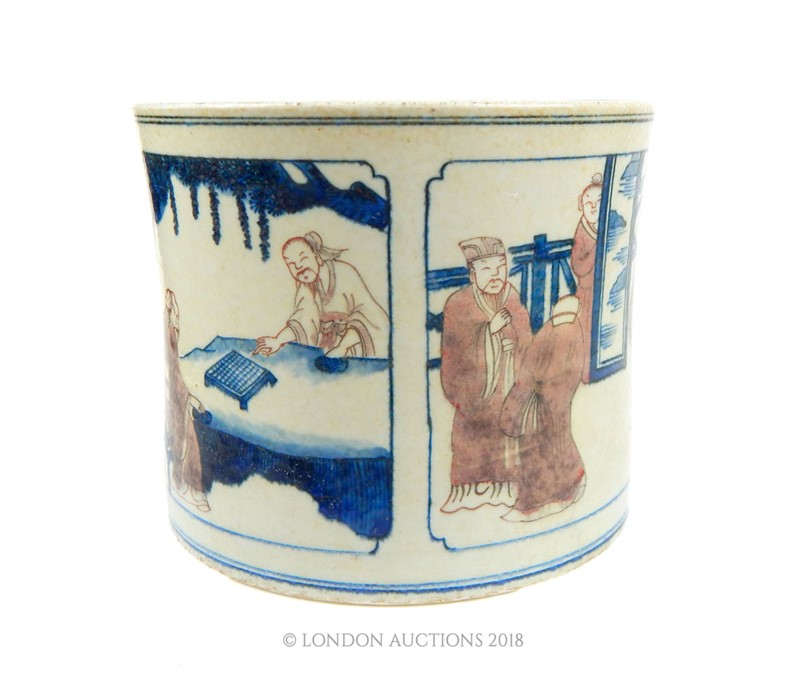 Lot 29 - A Chinese porcelain brush pot