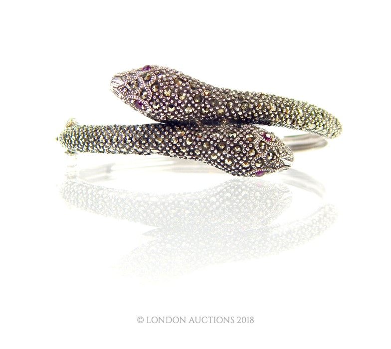 Lot 11 - A Marcasite set snake style bangle