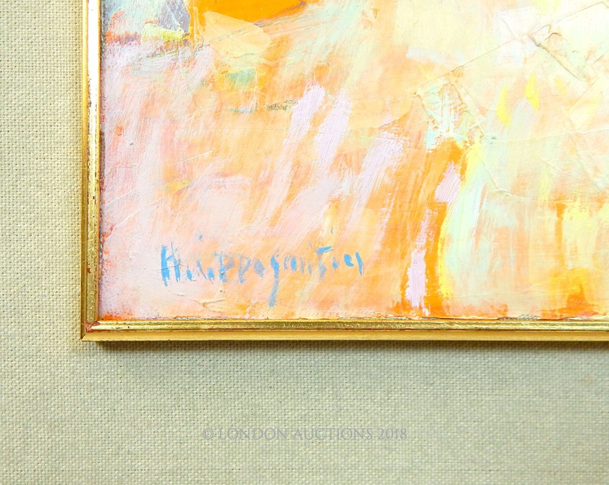 Lot 45 - A contemporary oil on canvas depicting sunbathers