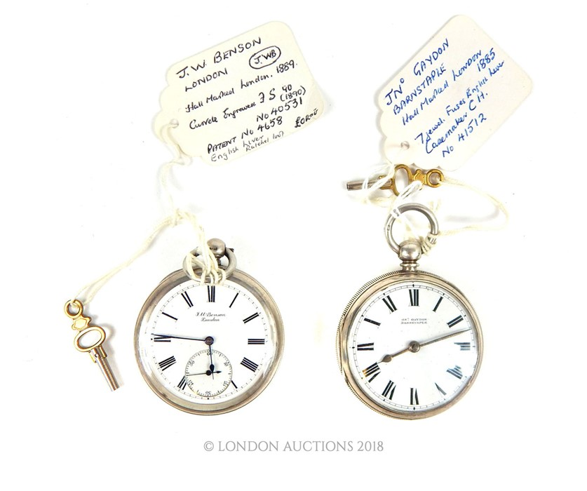 Lot 7 - Two Victorian sterling silver cased open faced pocket watches