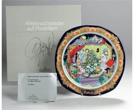 Rosenthal Weihnachtsteller Weihnachtslieder Porzellan /'86 Björn Wiinblad*Limited