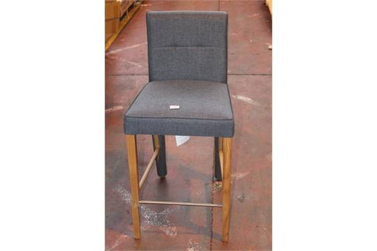 38d08b8ccf8 1 x BOXED SIMONE GREY FABRIC AND LIGHT OAK HIGH BACK BAR STOOL (IN ...